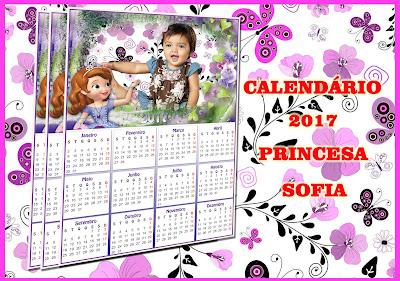 Calendário 2017 PSD & PNG Princesa Sofia