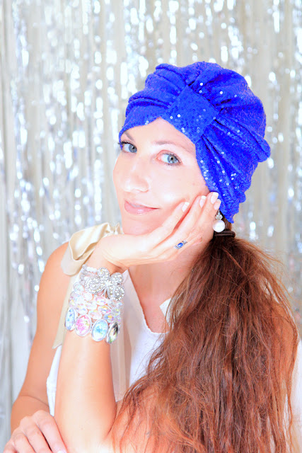 Royal Blue Sequin Turban by Mademoiselle Mermaid