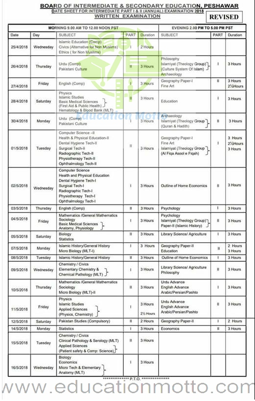 Download BISE Peshawar Date Sheet, HSSC Date Sheet 2018, FA & FSc, Download BISE Peshawar Board FA FSc Date Sheet 2018 Part 1, 2, BISE Peshawar Inter Date Sheet Download, Pakistan, KPK