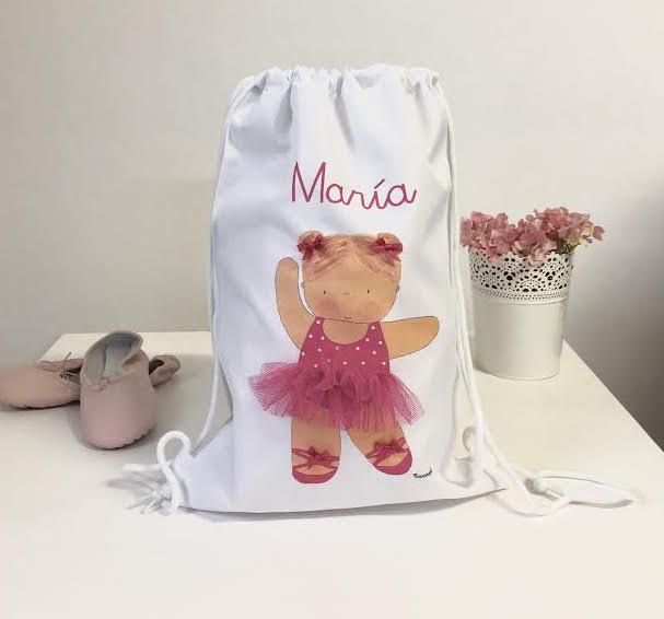 beautiful ballet children's backpack, personalized with the name of the girl.preciosa mochila infantil de ballet, personalizada con el nombre de la niña.