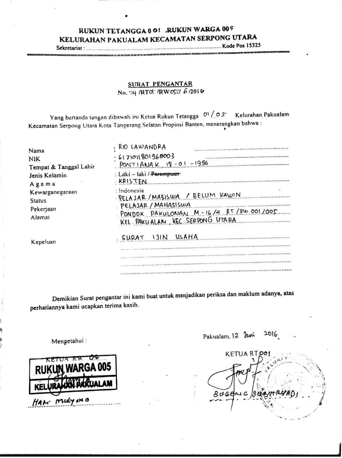 contoh surat pengantar rt/rw
