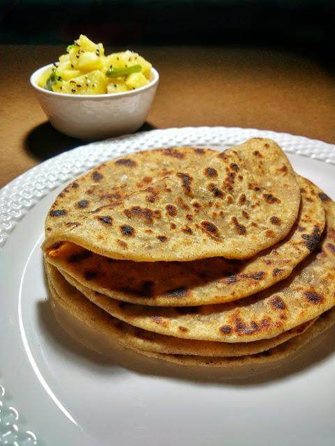 Onion Paratha with Bengali Sada Aloo