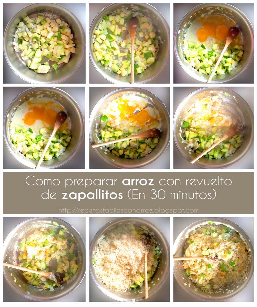 arroz con revuelto de zapallitos fototutorial