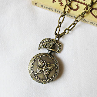 pocketwatch necklace butterfly leaf charm two cheeky monkeys