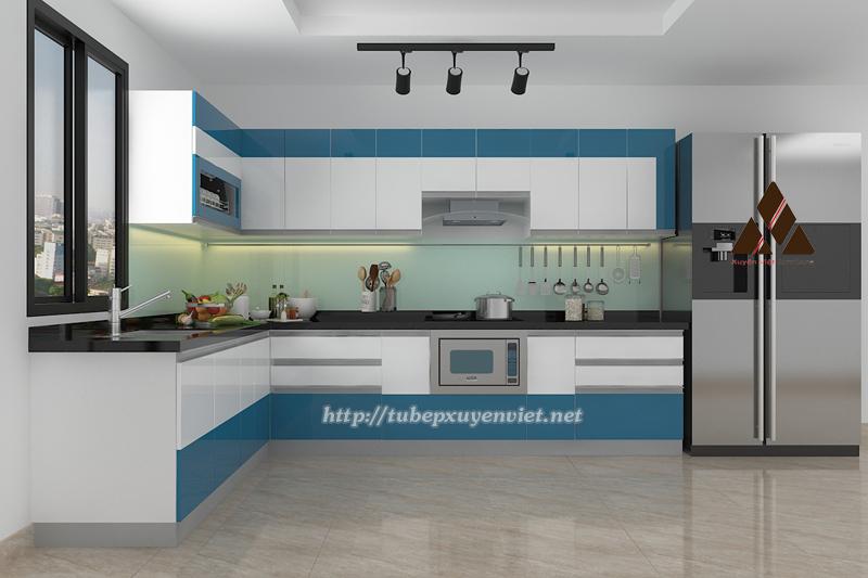 Mẫu tủ bếp đẹp chữ L màu xanh dương trắng hiện đại