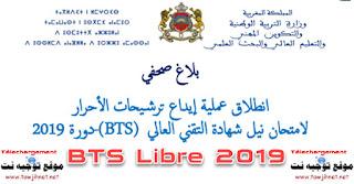 Candidature Diplôme de Brevet de Technicien Supérieur BTS libre 2019