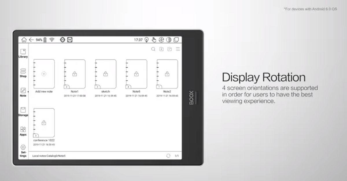 Zmiana orientacji ekranu to jedna z modyfikacji wprowadzonych w wersji oprogramowania 2.2.1 dla czytników Onyx z Androidem 6.0