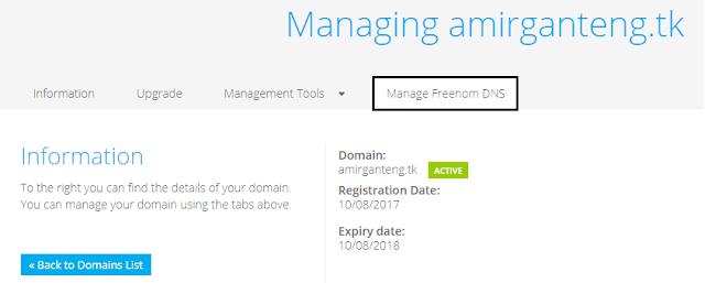 Manage DNS di Freenom