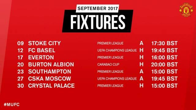 Jadwal Manchester United September 2017
