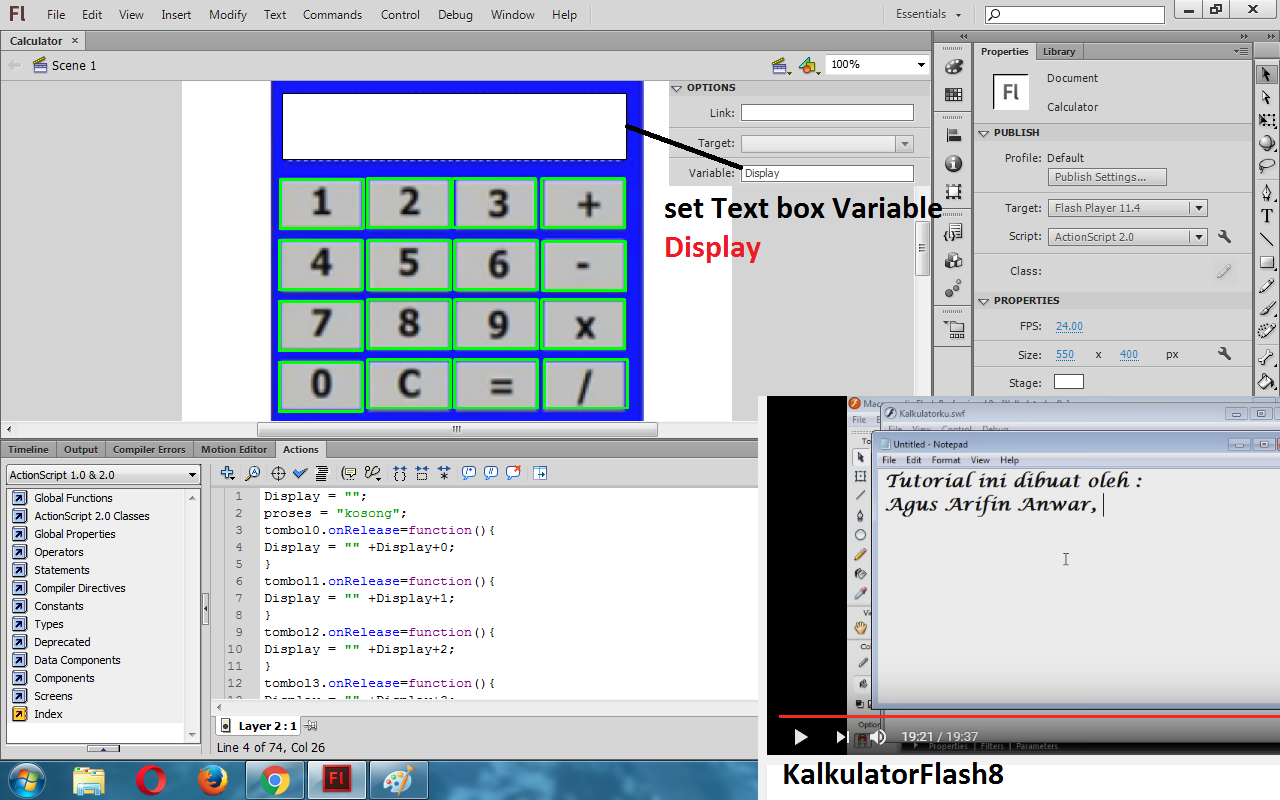 How to make calculalor in flash. How to create calculator in adobe.