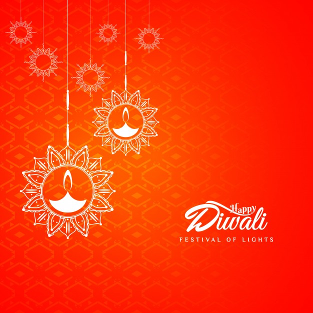 abstract red diwali design free vector