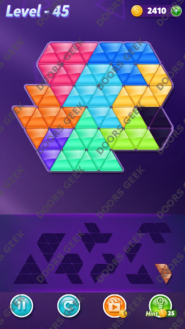 Block! Triangle Puzzle Proficient Level 45 Solution, Cheats, Walkthrough for Android, iPhone, iPad and iPod