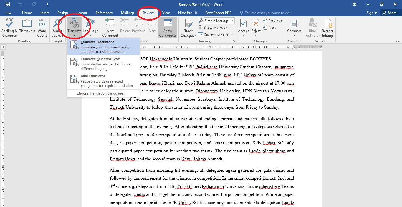 cara translate pdf bahasa inggris dengan word