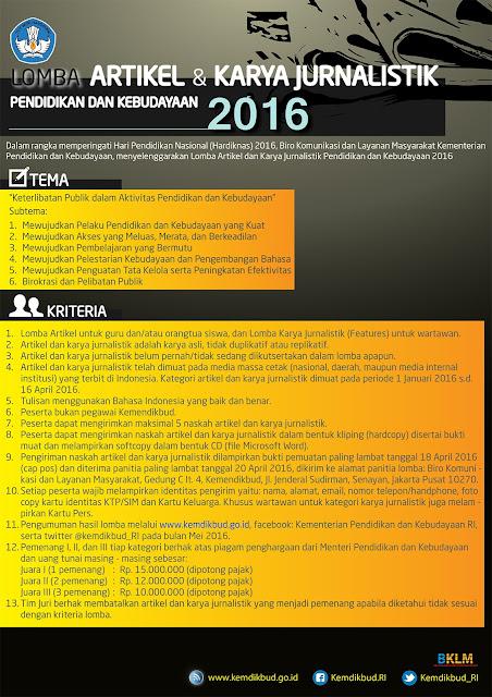 Lomba Artikel dan Karya Jurnalistik Pendidikan Kebudayaan 2016