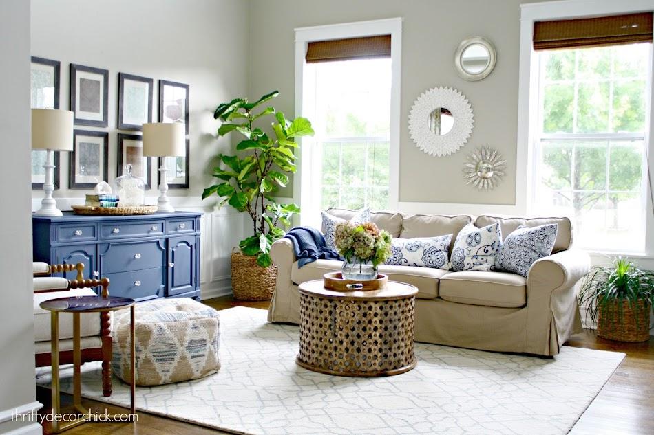 Slipcovered sofa neutral