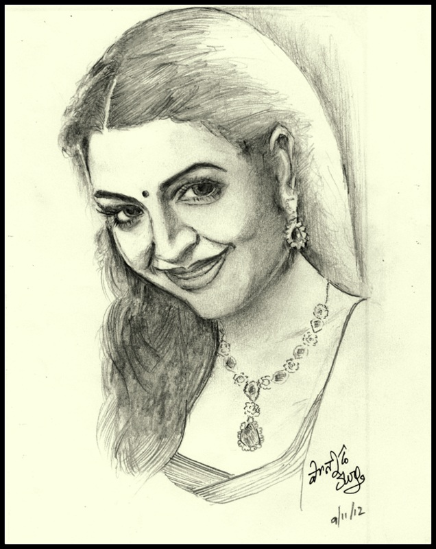 Sketches and Drawings : Pencil drawing - Indian beauty.