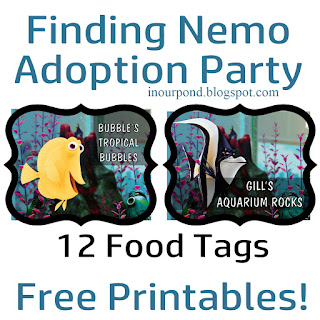 FREE Printables for Finding Nemo ADOPTION Party from In Our Pond