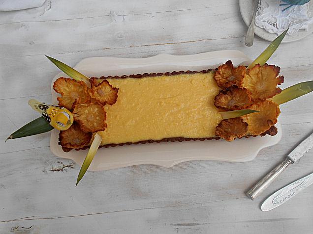 tarte de abacaxi e chocolate branco