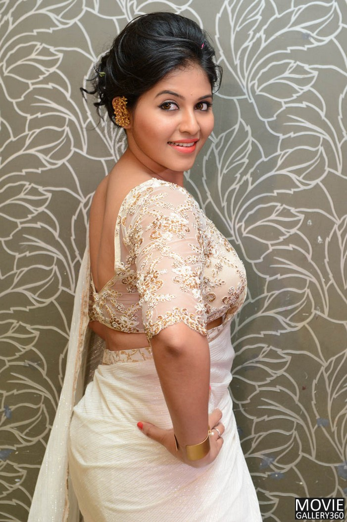Actress Anjali In Beautiful Images In White Saree -3198