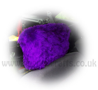 purple fuzzy car headrest covers