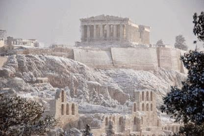 Snow on the Acropolis.Athens.Greece