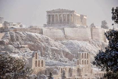 Snow on the Acropolis.Athens.Greece