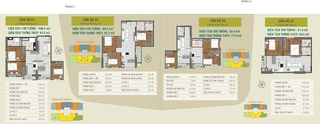 Thiết kế các căn hộ điển hình dự án Hồng Hà Tower