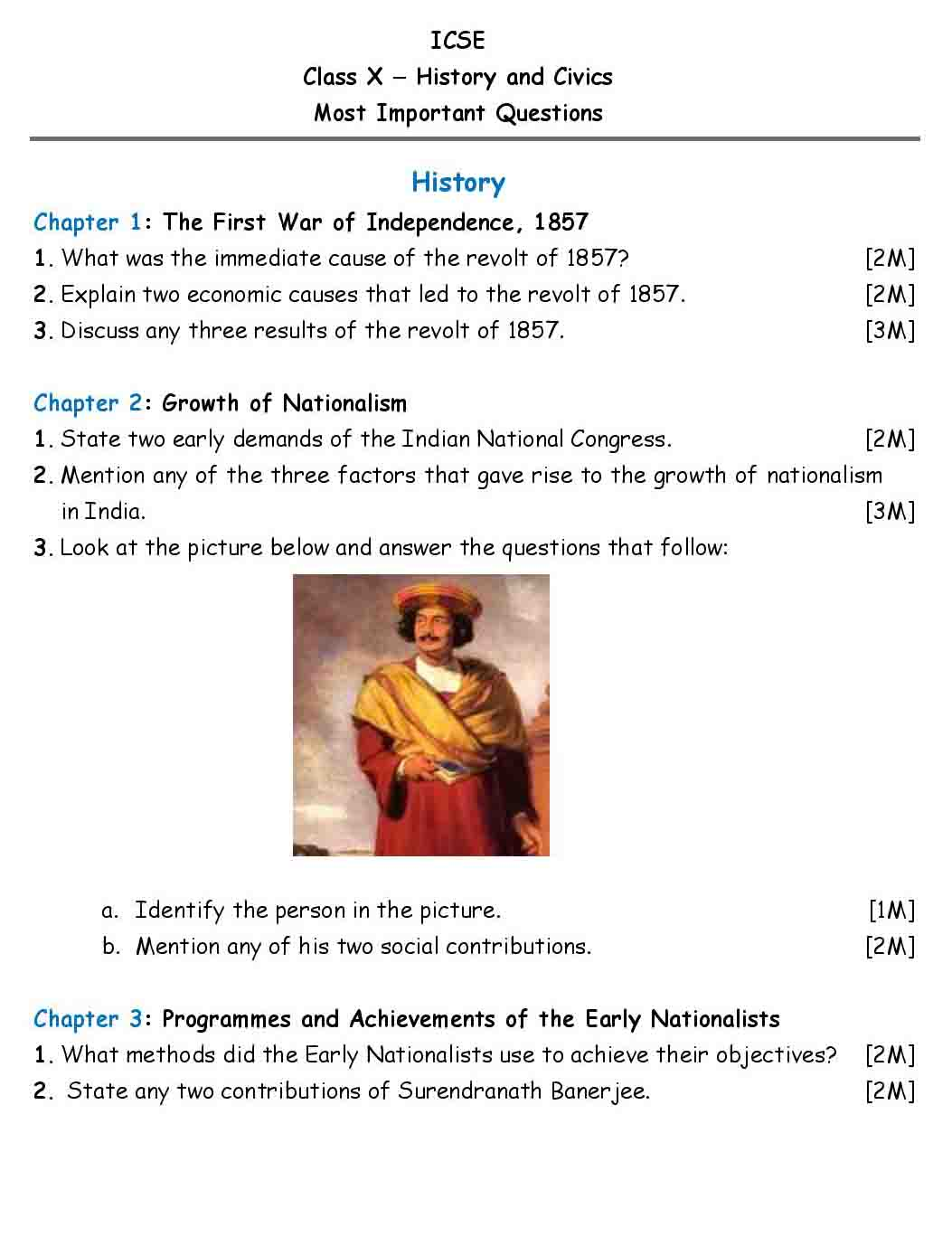 ICSE History & Civics Chapter Wise Important Questions Class 10