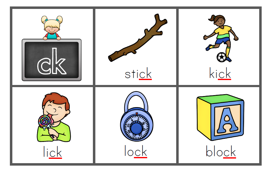 Printable Sound Bingo Game - ck words. A classroom set of ready to print BINGO cards focusing on words with the digraph /ck/ | you clever monkey