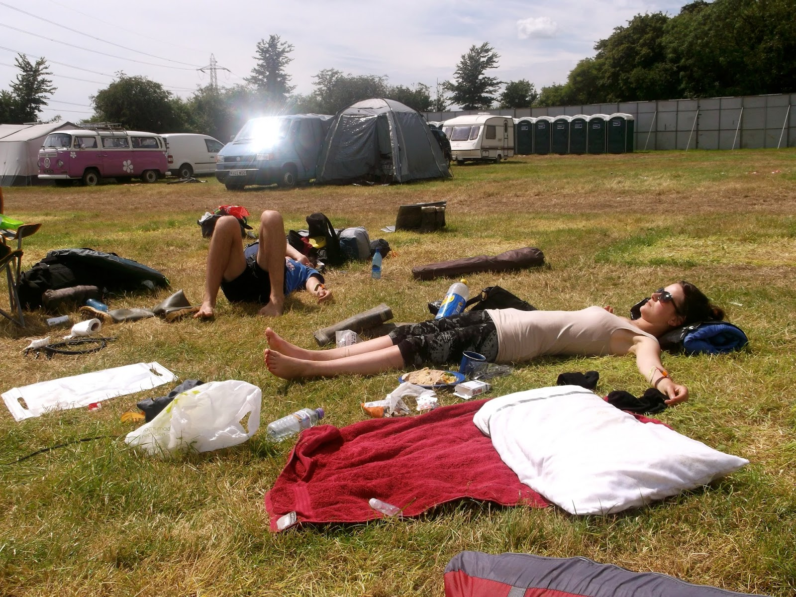 Exhausted campers at Glastonbury festival