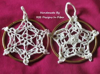 Set of 2 White Crochet Star Ornaments - Handmade by Ruth Sandra Sperling of RSS Designs In Fiber