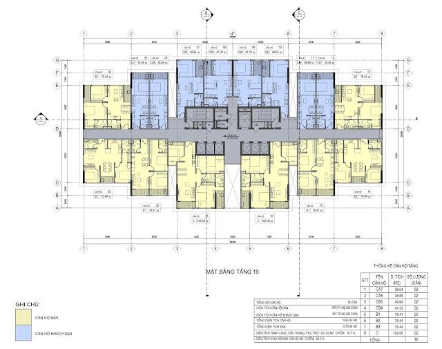 Mặt bằng tầng 19 dự án Del Dorado  Phú thanh