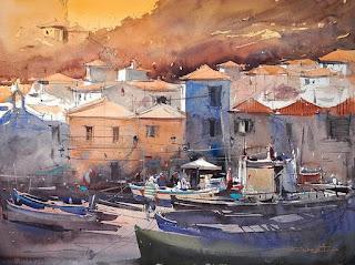 pinturas-acuarela-puertos-costeros