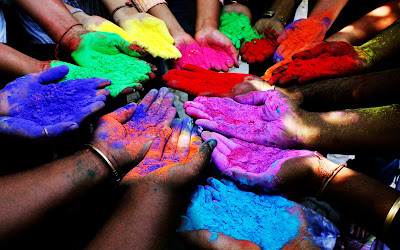 Holi With Colorful Hand