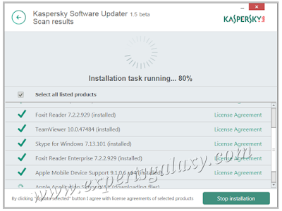 Kaspersky Installation Task Running