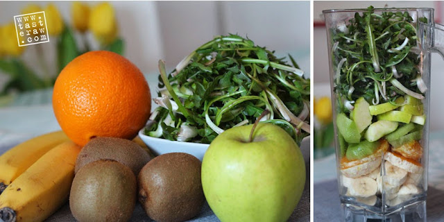 smoothie, dandelion, maslačak, orange, pomorandža, kivi, kiwi, jabuka, apple, raw, presno
