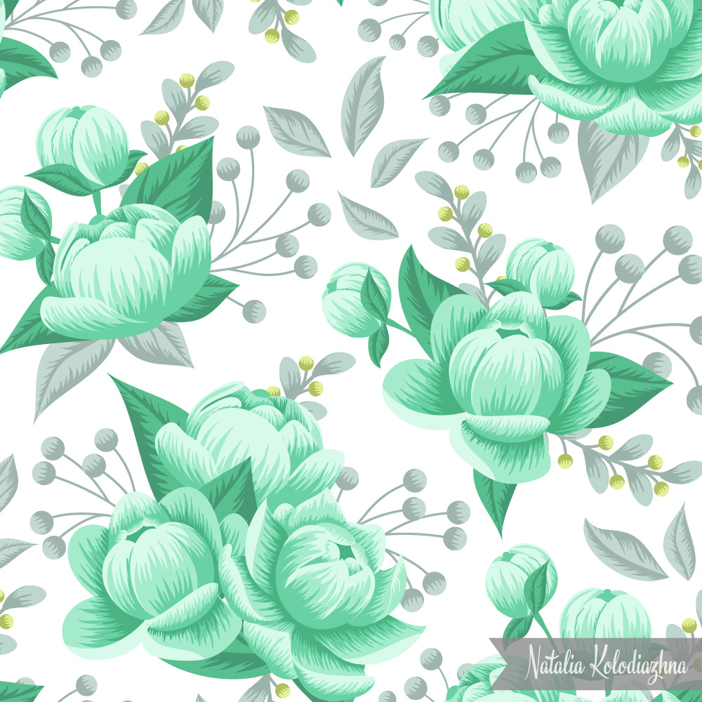Mint beauty - beautiful peony textile pattern design by surface pattern designer Natalia Kolodiazhna