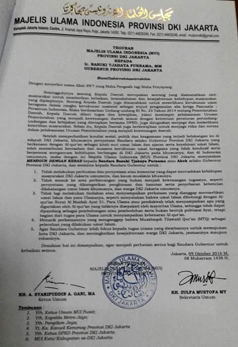 Pernyataan Resmi MUI Jakarta Kepada Ahok Terkait Kasus Penistaan Agama