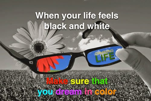 When your feels black and white make sure that you dreams in color.