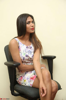 Nishi Ganda stunning cute in Flower Print short dress at Tick Tack Movie Press Meet March 2017 131.JPG