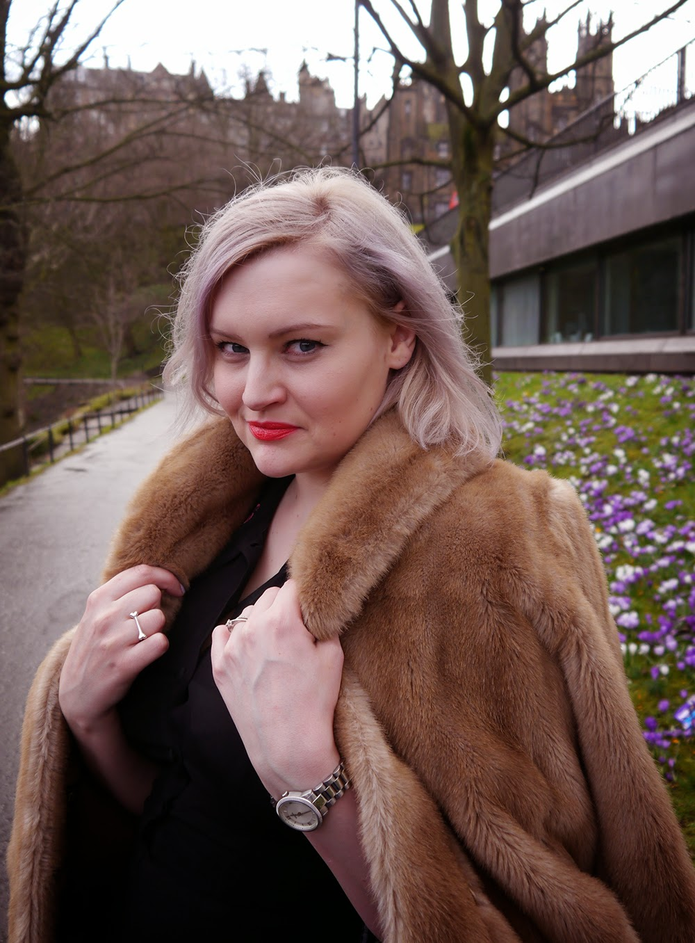 day one, Edinburgh Fashion Week, 2015, Wardrobe Conversations, model, faux fur, vintage, lilac hair,