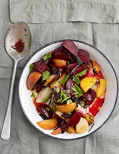A recipe for roasted beets and mint via Twin Palms Ranch