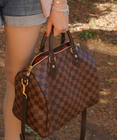Away From Blue Handbag Louis Vuitton Damier Ebene 30 speedy bandouliere