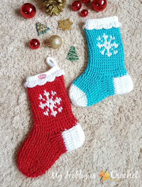 Snowflake Christmas Stocking - Free Crochet Pattern