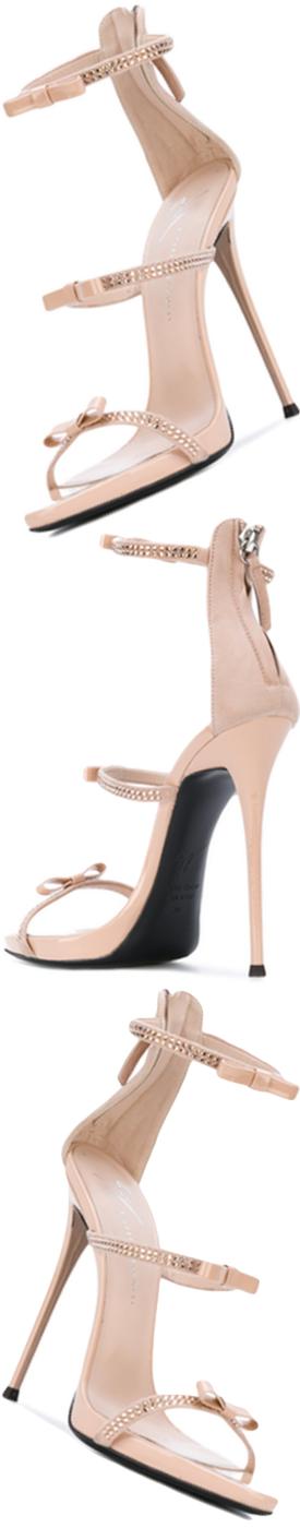 GIUSEPPE ZANOTTI Harmony Ribbon Sandal in Nude