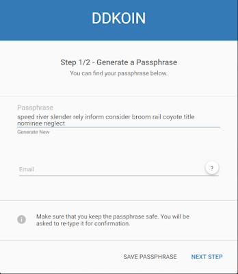 generate passphrase ddkoin