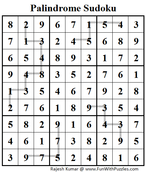 Palindrome Sudoku (Daily Sudoku League #92) Solution