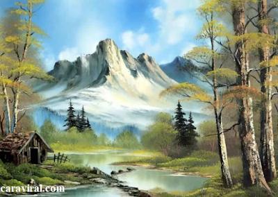 teknik basah, cara melukis basah, contoh lukisan basah