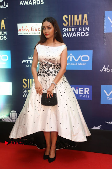 Actress Pooja Salvi Stills in White Dress at SIIMA Short Film Awards 2017  0004