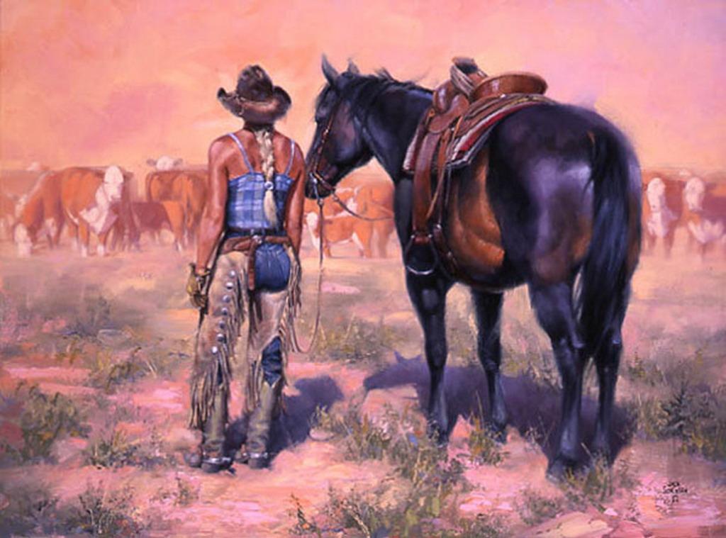 Imágenes Arte Pinturas: Caballos Y Vaqueros Vistas Del
